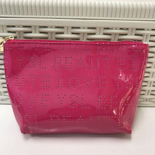 💄美妝保養💄YSL 聖羅蘭 桃紅時尚化妝包