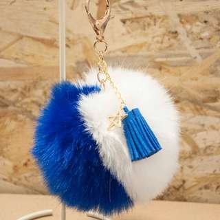 雙色毛球 藍白 流蘇 掛飾 包包吊飾 裝飾品