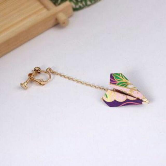 02698Ar  Japanese Osewaya Paper Origami Airplane Earrings No Needle Harga 1pcs Purple