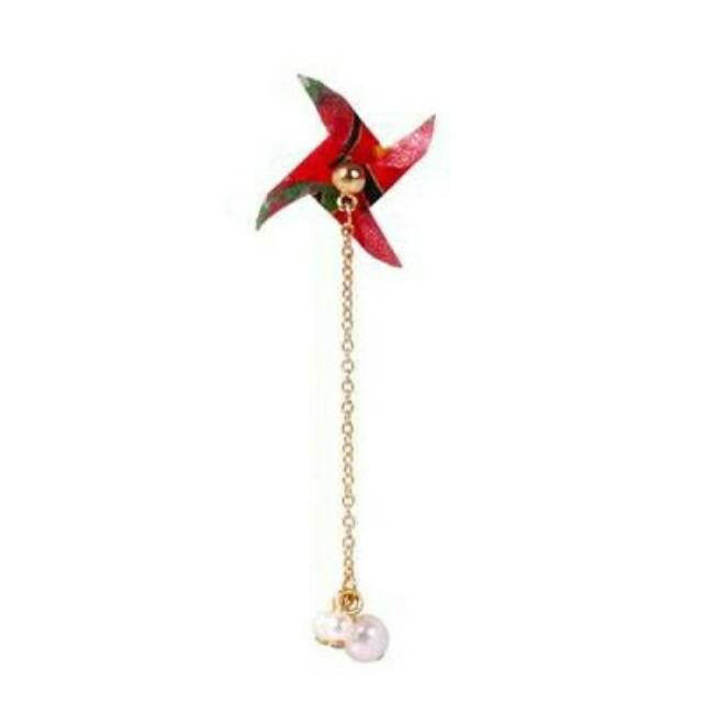 026996r  Japanese Osewaya Pearl Windmill Origami Earrings Harga 1pcs Red