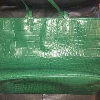 Green Leather Saks Fifth Avenue Handbag