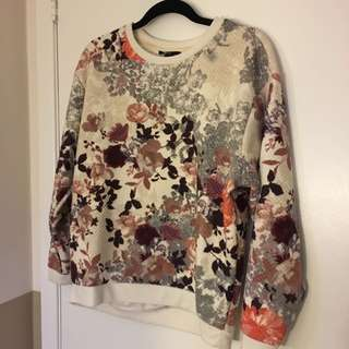 H&M Floral Quilted Sweater