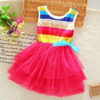 Ready Stock - Baby Gaun / Dresses (Rainbow Tutu) - 3 Colors - Clearance Offer!!