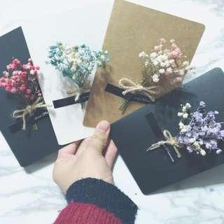 手工乾燥花卡片 滿天星卡片 乾燥花 祝福賀卡 畢業花束禮物