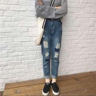韓版 牛仔褲👖破褲