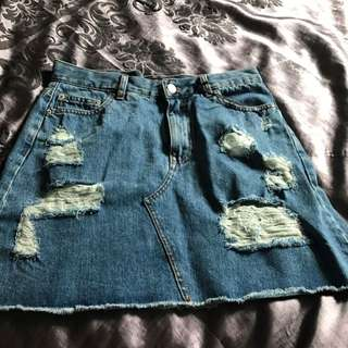 Glassons Rip Mid Wash Skirt