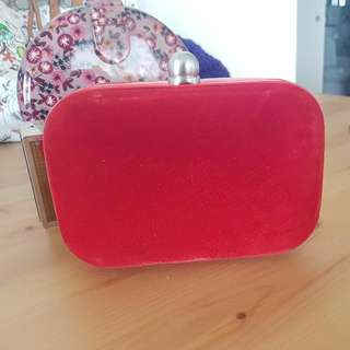 Mimco Red Velvet Clutch With Straps USED