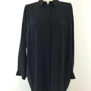 Black Long Button Up Shirt