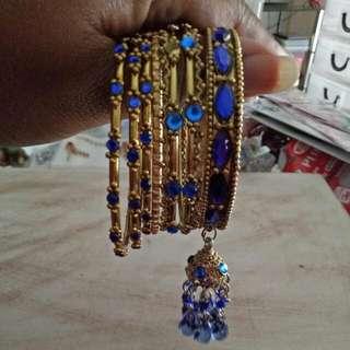 Gold and Blue Indian Vintage Bangle Set