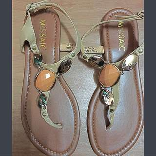 Mosaic Nude Sexy Flat Sandals