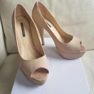 TONY BIANCO platform nude peeptoe heels