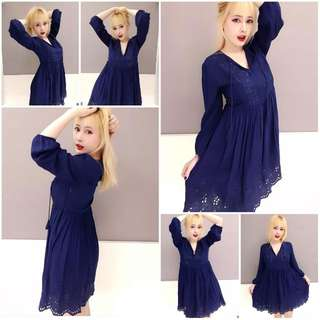 🚚 Forever21 日本秋季新品 鏤空雕花深藍色長袖洋裝 V領洋裝 刺繡洋裝 質料超好 全長內裡 氣質 約會 lizlisa mussa kb 0918 娃娃裝 孕婦裝