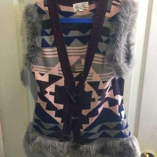 aztec fur vest