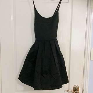 Cross Over Back Black Skater Dress
