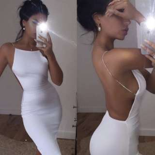Backless Bandage Metal Spaghetti Strap Dress