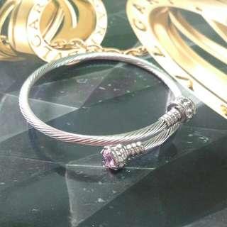 🚚 鋼索粉色水鑽手環