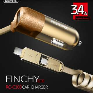 Hong Kong Remax RC-C103 3.4A Finchy 2in1 Micro&apple Lightning Car Charger