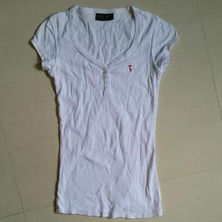 (1) Bee Bee Basicable White V Neck Short Sleeve Top #IDoTrades
