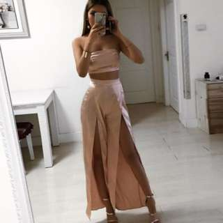 Two Piece Satin Evening Dress
