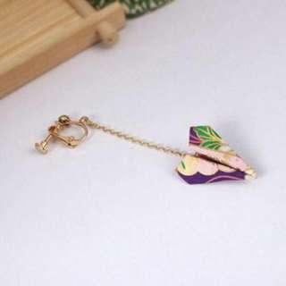 02698Ar  Japanese Osewaya Paper Origami Airplane Earrings No Needle Harga 1pcs Purple