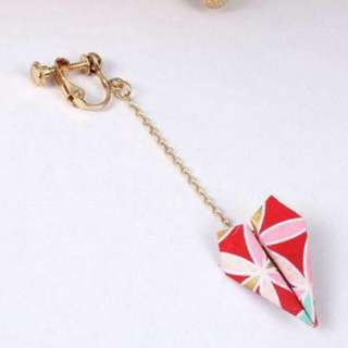 02698Br  Japanese Osewaya Paper Origami Airplane Earrings No Needle Harga 1pcs Pink