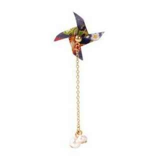 026995r  Japanese Osewaya Pearl Windmill Origami Earrings Harga 1pcs Green