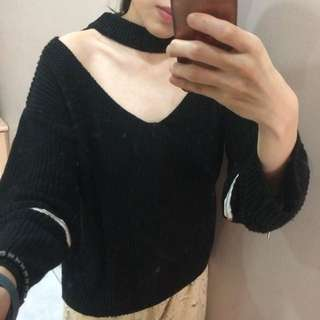 New! Black Sweater Top