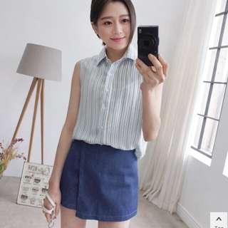 條紋背心褲裙套裝