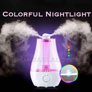 Haze! Duo Nozzle Air Humidifier - LED Lighting Ultrasonic Aromatherapy Air Purifier Mist Adjustment Mode/Mist Diffuser/Aroma Oil/Skin Care/Breathe Well/Super Quiet Bedroom/Large Capacity Office/Dry Skin/
