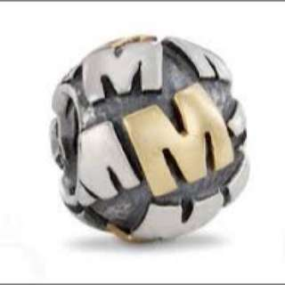 "PANDORA 14ct Gold And Silver ""M"" Charm"