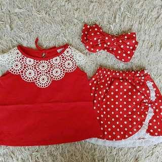 Set Babygirl Casual Red Polkadot