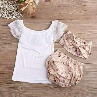 Set White Lace Vintage Flower