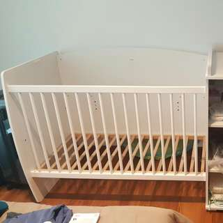 Baby Cot Bed And Wardrobe With Changing Table