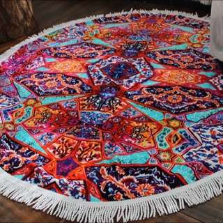 (06/25前特價)OshareGirl 03 彩色黑白幾何圖形純棉地墊海灘墊野餐墊 海灘墊 地墊地毯 圓毯