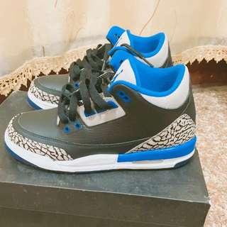 Jordan 3 黑藍爆裂 4.5y(23.5cm)