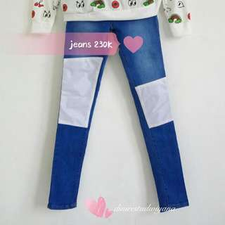Jeans with White Patch & Sweater