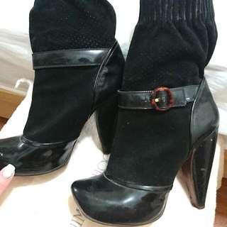 Marc Jacobs黑色瑪麗珍短靴(大S款)