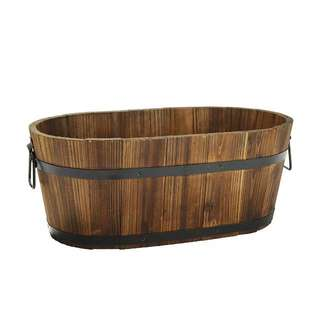 Rustic wooden barrel pot