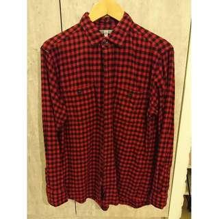 🚚 優質二手,UNIQLO 法蘭絨 紅/黑格子襯衫,SIZE:L,NT$250元。