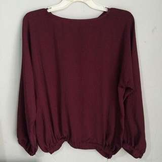Maroon Sleeves Top