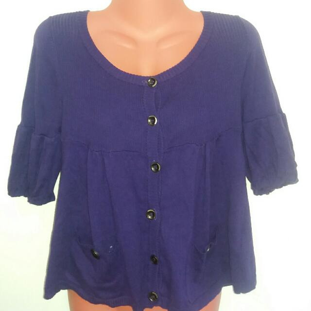 3/4 sleeves purple blouse