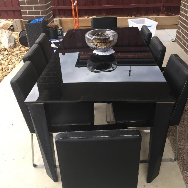 8 Seater black Solid Glass Dinning Table