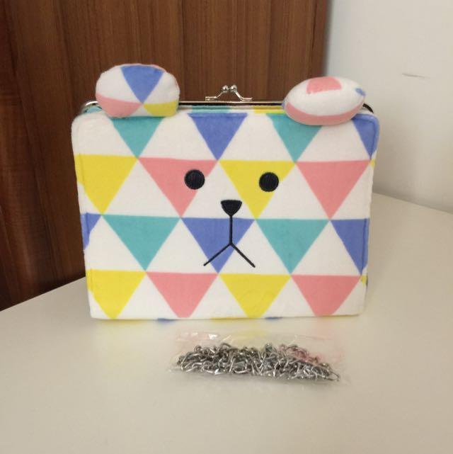 免運!宇宙人~三角熊珠扣包