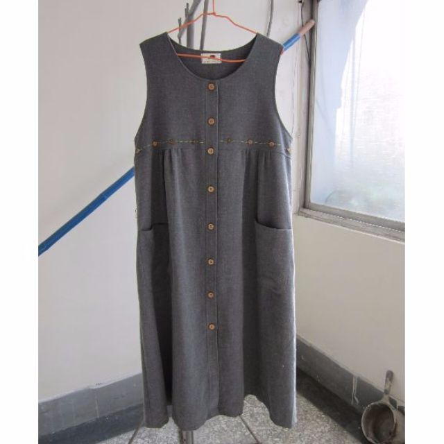古著灰色排釦無袖長洋裝