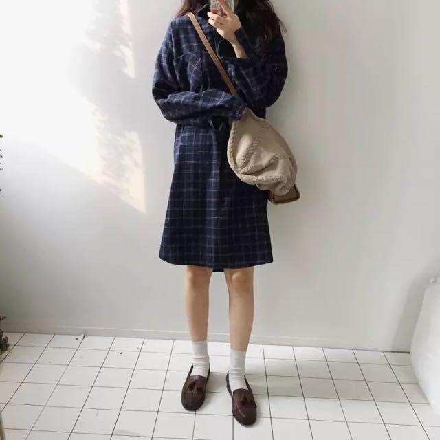 格子襯衫連衣裙💕