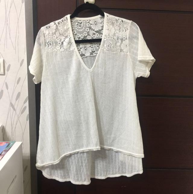 棉質針織襯衫  前短後長