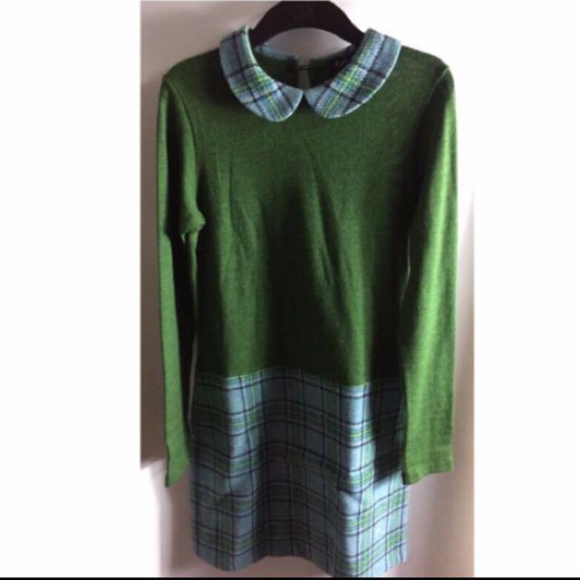 Agnes b 蘇格蘭風連身洋裝 長袖 毛料短裙