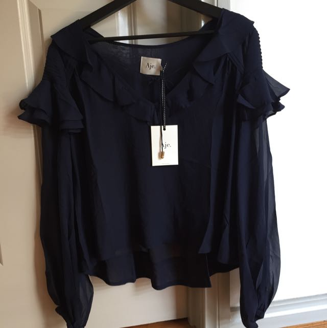 AJE - Odesa Top In Navy Blue Size 6