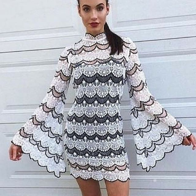 Asilio Dark Tides Long Sleeve Mini Dress Size 6