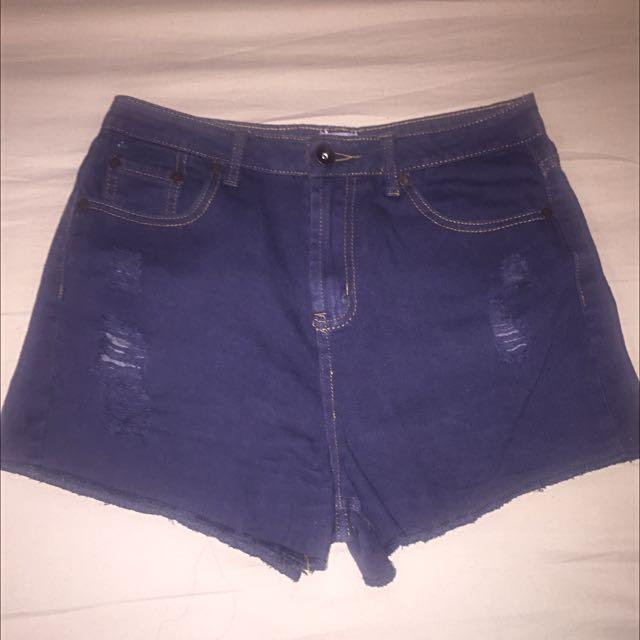 ASOS Dark Blue Denim Shorts UK Size 10
